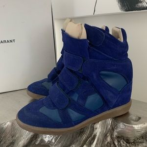 Isabel Marant Blue Wedge Sneakers